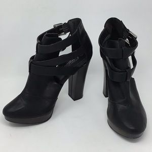 Black Leather Strappy Platform Boots Buckle Close